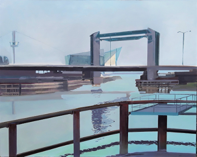 Hull Tidal Barrier, painting by Cliff Forshaw
